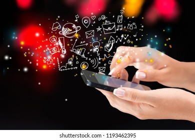 Woman hands holding smartphone isolated on background