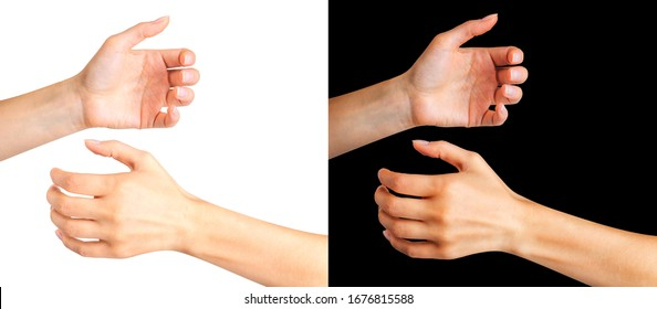Woman hands holding something like a bottle or glass on black and white background. Isolated with clipping path.