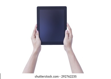 Woman hands holding tablet blank screen over isolate background concept use for responsive reading tools and communication pro gadget. website mock up horizontal view, people device pc touch screen