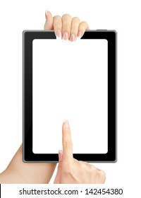 Woman hands holding tablet computer on white background.