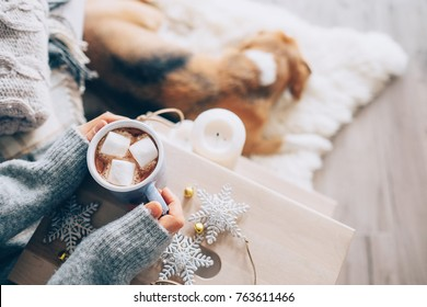 Woman hands ith cup of hot chocolate close up image, cozy home,