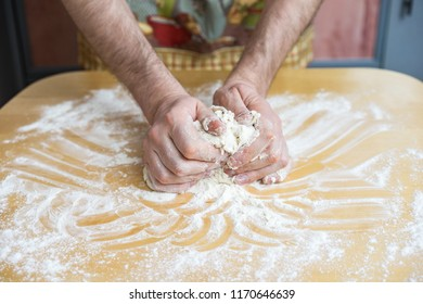 Woman hands kneading dough prepare for baking cookies in the kitchen