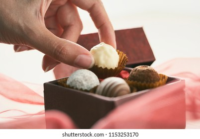 Woman hands making delicious pralines, Chocolate and creamy truffles