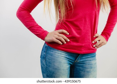 Woman with hands on hips. Female body part. Fashion health  leisure feminine concept.