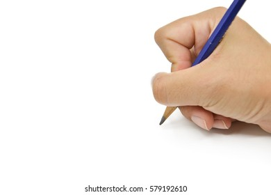 Woman hands with pencil writing. Isolated on white background