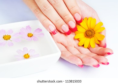 Woman hands with pink manicure. manicure tray