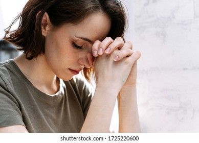 Woman hands praying to god. Woman Pray for god blessing to wishing have a better life. begging for forgiveness and believe in goodness. Christian life crisis prayer to god