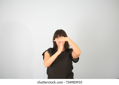 Woman hands timeout