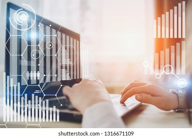 Woman hands typing on dock keyboard contemporary electronic tablet. Concept of virtual diagram,graph interfaces,digital display,connections,statistics icons. New ideas with innovation and creativity
