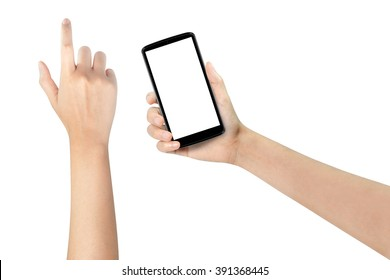 Woman hands using mobile phone with white screen