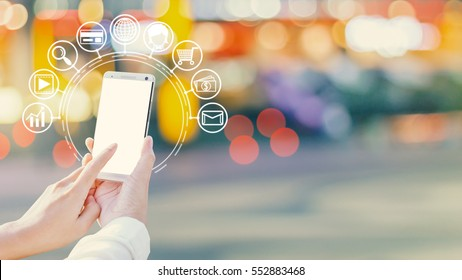Woman hands using smartphone and icon web, Shopping via smartphones.