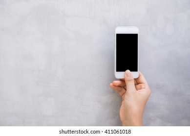 Woman hands with wall cell phone, mock up
