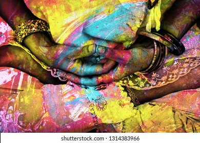 woman hands in yoga mudra gesture closeup colorful