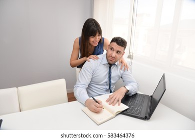 woman harassing a worker