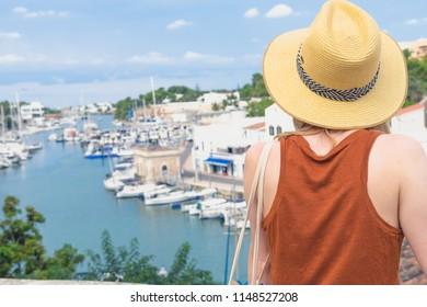 Woman the Harbor at Cituadella, Menorca