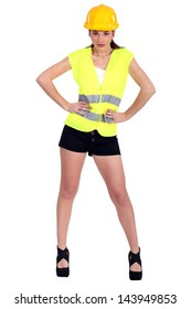 Woman in a hardhat and hotpants