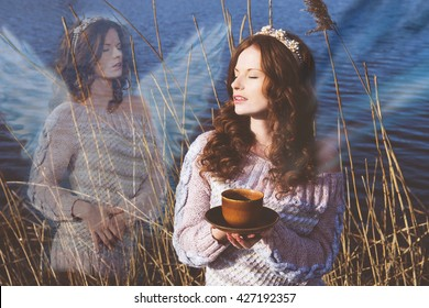 Woman in harmony with nature, communication with spirits, reincarnation
