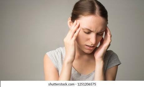 woman has headache, isolated