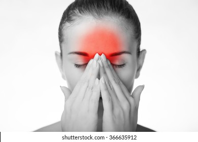 Woman has headache migraine or pain in her eyes