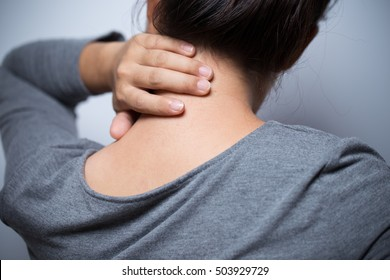Woman has neck pain