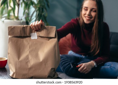 woman has ordered food. take away food concept