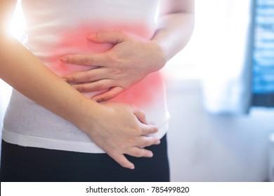 Woman has stomachache,stomachache