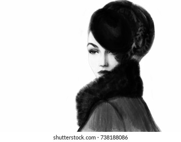 Woman with hat. Fashion illustration.