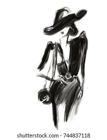 woman with hat. fashion illustration