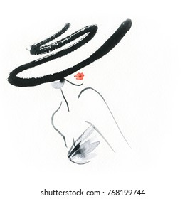 woman in hat. fashion illustration