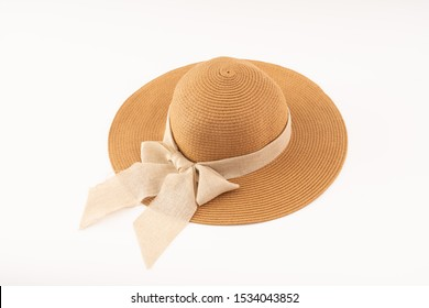 woman hat isolated on white background .Women's beach hat.classic woman hat . straw hat.