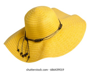 woman  hat isolated on white background .Women's beach hat . yellow  hat .