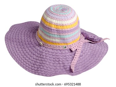 woman  hat isolated on white background .Women's beach hat . colorful hat .