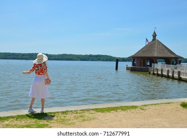 Woman with a Hat at Mount Vernon Waterfront in Virginia, USA