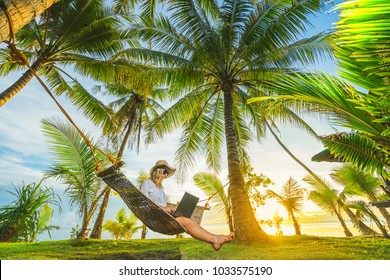 Woman in hat sitting in hammock on the beach with laptop and typing.