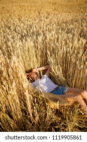 Woman have rest in summer nature