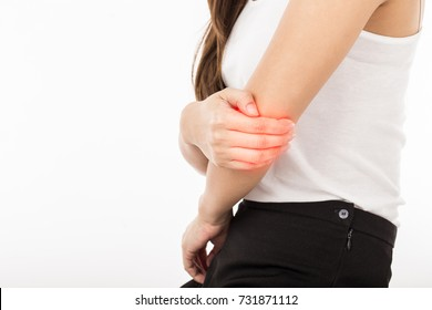 Woman have a Tennis Elbow pain,Isolated on white background,Healthcare Concept