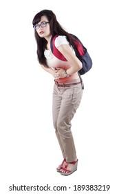 Woman having abdominal pain, upset stomach or menstrual cramps