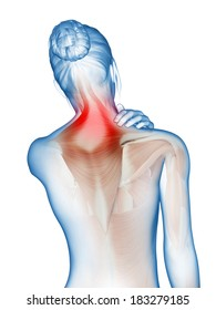 a woman having acute pain in the neck muscles