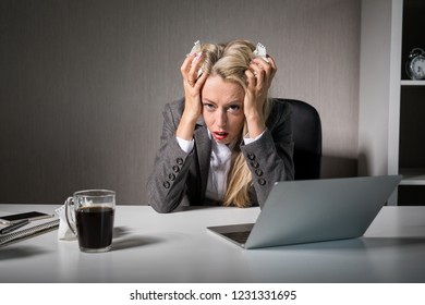 Woman having bad day at office