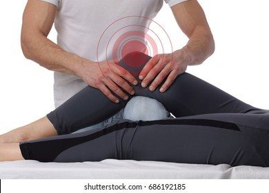 Woman having chiropractic adjustment, healing treatment. Osteopathy,acupressure. Alternative medicine, pain relief concept. Rehabilitation after sport Injury, Physical therapy,isolated on white.