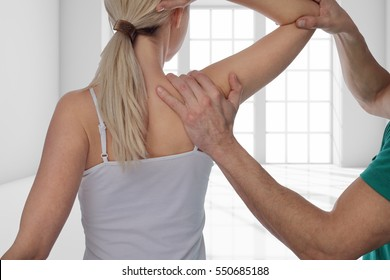 Woman having chiropractic back adjustment. Osteopathy, Alternative medicine, pain relief concept