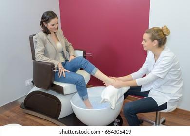 woman having a foot spa