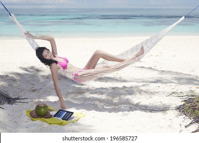Woman having a holidays, Boracay in Philippines