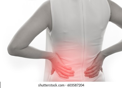 woman having Low and Lower Back Pain on isolated white background.