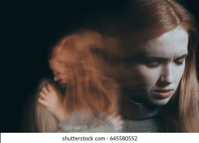 Woman having nervous breakdown, feeling lonely and unhappy