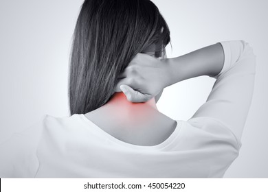 woman having pain in the back and neck, Pain in the back
