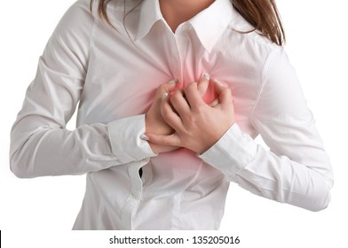Woman having a pain in the heart area, isolated in white, red circle around painful area