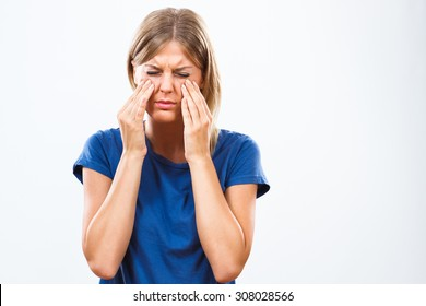 Woman is having pain in sinus.Sinusitis