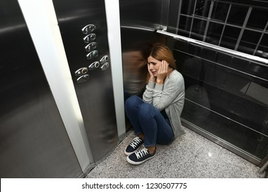 Woman having panic attack in elevator