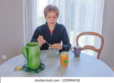 woman having a snack